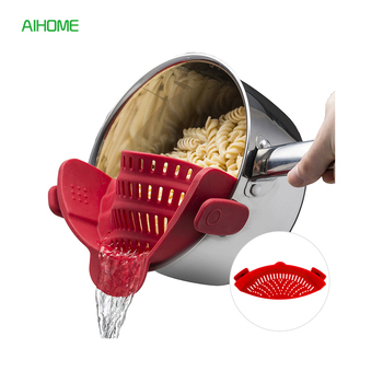 Silicone Clip-on Pot Strainer Pan Colander Perfect for Draining Liquid Pasta Washing Vegetables Fits Most Size