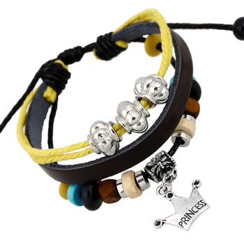 Vintage Multi-layer Rope Cuff Braclet Beads PU Leather Crown Charms Bracelets for Women Gifts KQS8
